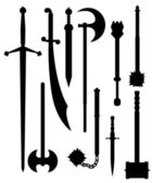 Weapons of antiquity silhouettes — Stock Vector