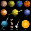 Planets isolated on black (not to scale) - Stock Vector