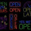 Neon Open Signs — Stock Vector