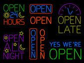 Neon Open Signs — Stock Vector