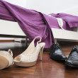 Foto Stock: Shoes in bedroom