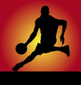 Playing basketball — Stock Vector
