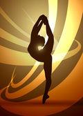 Silhouettes gymnastics dancer — Stock Vector
