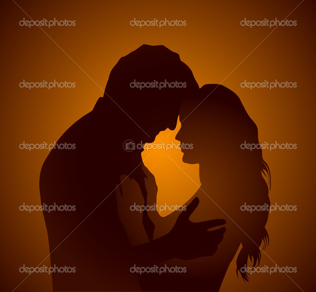 Silhouette of a young couple — Stock Vector #11040620