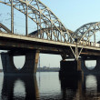 Railway bridge across Dnepr river. — Stock Photo