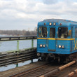 Metro bridge across Dnepr river. — Stock Photo