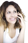 Beautiful sexy woman smiling on the phone close up — Stock Photo