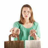 Girl with paper bags — Stock Photo