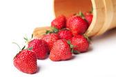 草莓在篮挂 — 图库照片