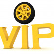 Gold vip with a wheel - Stock Photo