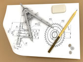 Band, pencil and compasses — Stockfoto
