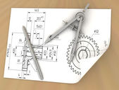 Compasses drawing and a pencil — Стоковое фото