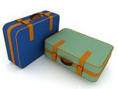 Suitcases on white background — Stock Photo