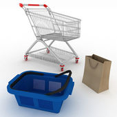 Collection for shopping from basket, packages and cart — Stock Photo