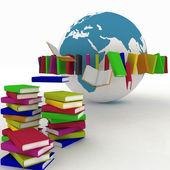 Books fly into belt round the earth — Stock Photo