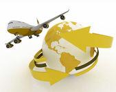 Passenger jet airplane travels around the world — Stock Photo