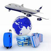 旅客機とバック グラウンドでグローブのスーツケース — ストック写真