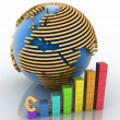 Lowering chart with earth and symbol of euro — Stock Photo #11353452