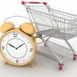 Shopping cart with clock in white background — Stock Photo