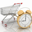Shopping cart with clock — Stock Photo #11353546