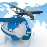 Passenger jet airplane travels around the world — Stock Photo #11353552