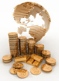 Gold globe with many gold coins and bullions — Stock Photo