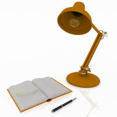 Book with a lamp and glasses on white background — Stock Photo