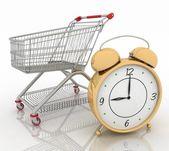 時計のショッピング カート — ストック写真