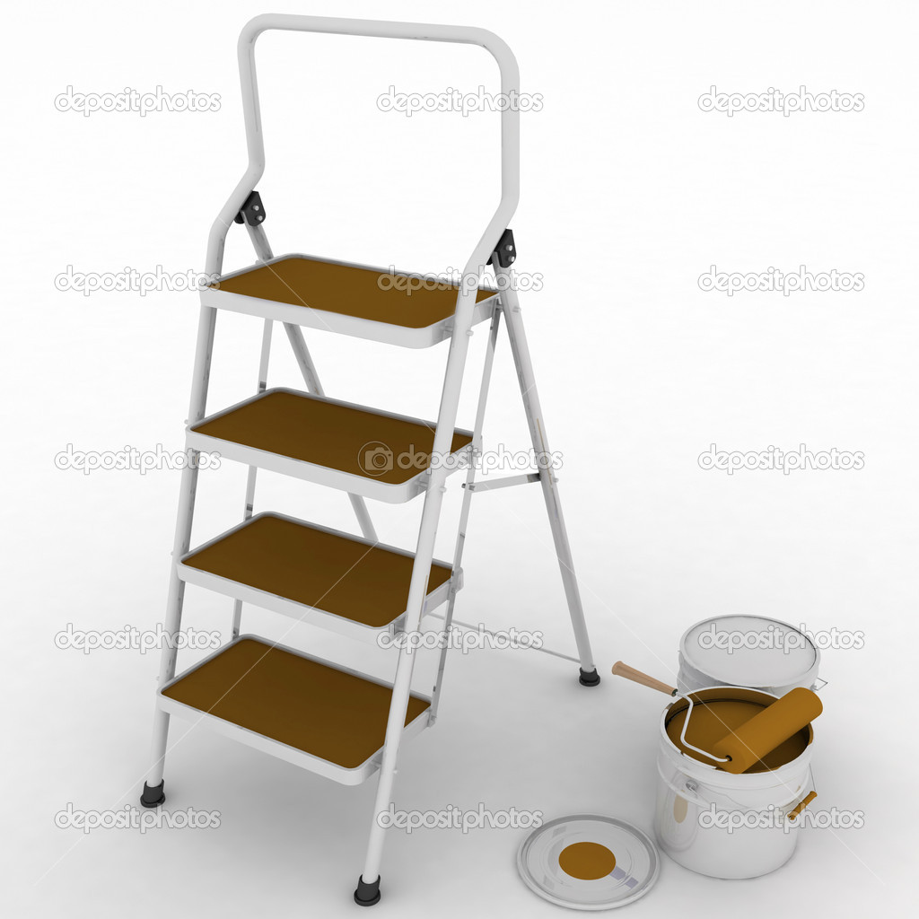 Stepladder with jars from under a braun paint on a white background — Stock Photo #11353497