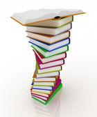 Stacks of books isolated on white background — Stockfoto