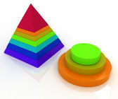 Layered pyramids on white background with reflection — Stock Photo