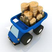 Camion jouet dotée de pièces de monnaie — Photo