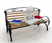 Homem-de-óculos se senta em um banco e lê um livro — Foto Stock