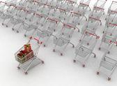 Mnoho nákupní vozíky — Stock fotografie
