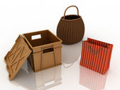 Containers for purchases — Stock Photo