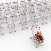 Many shopping carts. 3d render. — Стоковое фото
