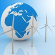 Wind turbines and earth, isolated on white background. — Stock Photo