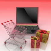 Shopping-cart and laptop — Stock Photo