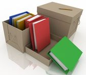 Office folders in cardboard box on white background — Stock Photo