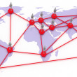 Stock Photo: Network map of the world