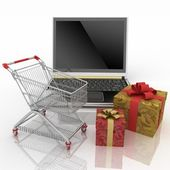 Conception of purchase of gifts on the internet — Stock Photo