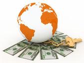 Global y cobrar el dinero, el mundo de las finanzas. ilustración 3d prestado. — Foto de Stock