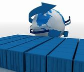 Containers with globe on white background — Stock Photo