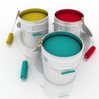 Open buckets with a paint and rollers — Stock Photo