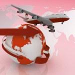 Passenger jet airplane travels around the world — Stock Photo #11528877