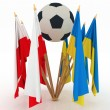 Royalty-Free Stock Photo: Countries of 2012 football championship with soccer ball on white