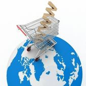 3d shopping on Earth in Internet — Stock Photo