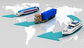 Types of transport on a map of the world background — Stock Photo