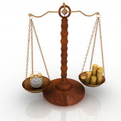 Concept time is money, clock and money on scales — Stock Photo