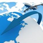 3d passenger jet airplane travels around the world — Stock Photo #11595114